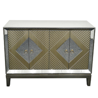 4 door gold mirrored large sideboard
