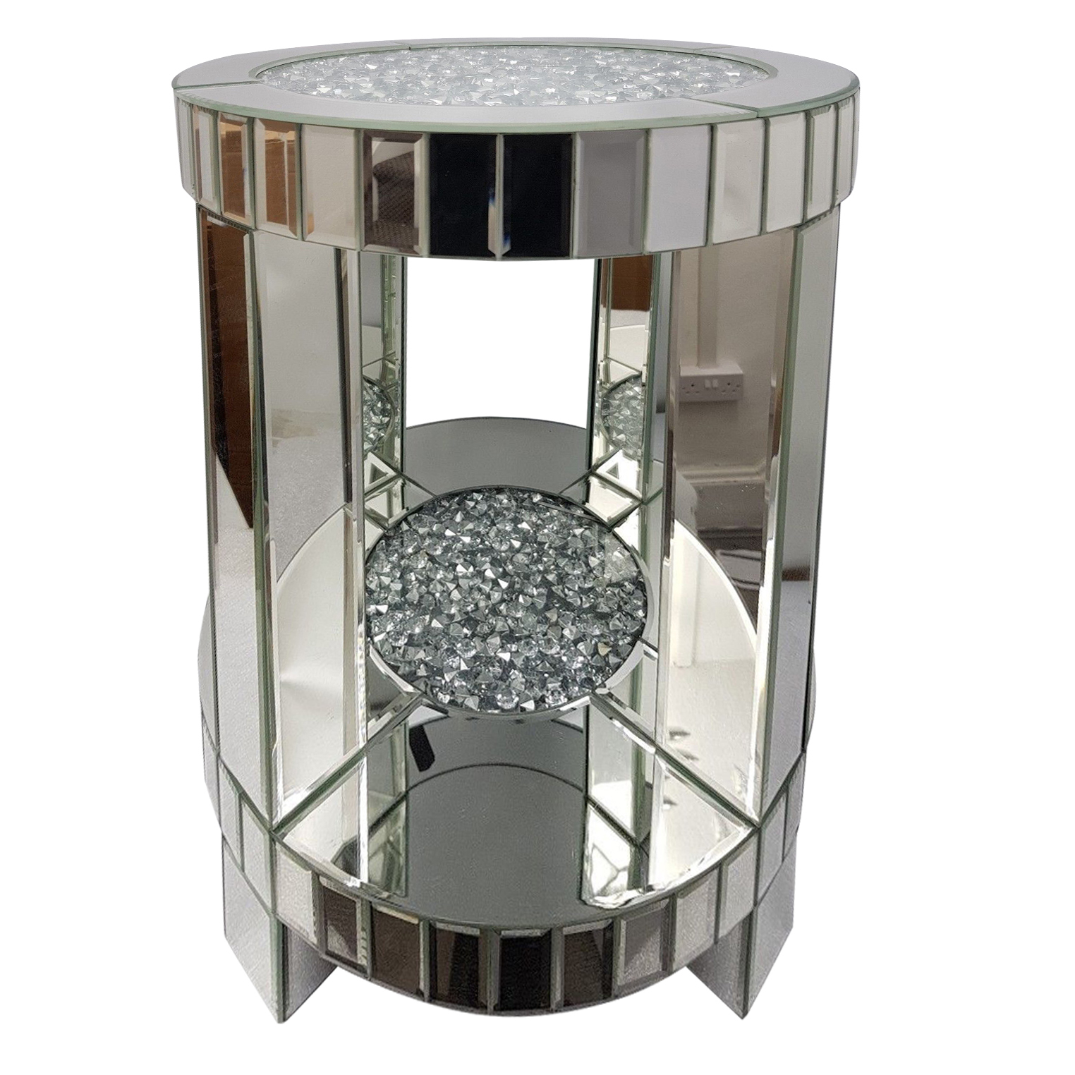 Sparkly Silver Mirrored Diamond Crush Crystal Round Side Table